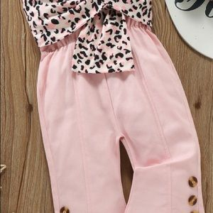 🐆New Pink Overalls Jumpsuit Leopard Bow 3T🐆